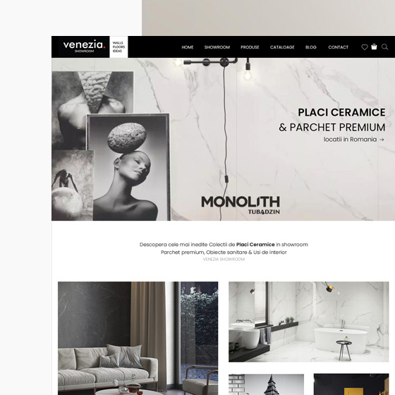 design web magazin online gresie faianta parchet venezia showroom 21vision agentie publicitate oradea